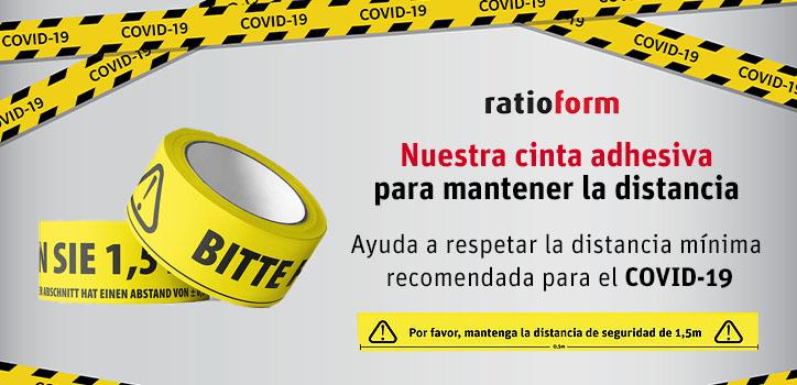 Cinta de advertencia para distancia interpersonal (PVC)